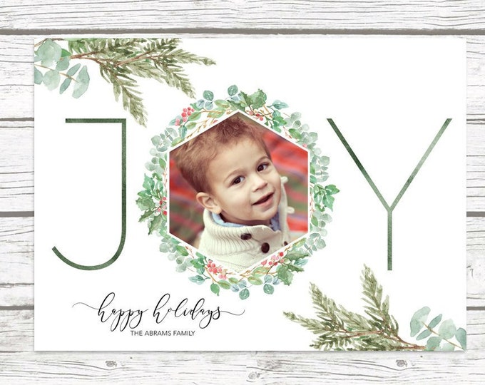 Joy Christmas Photo Card, Floral Christmas Photo Card, Holly Christmas Card, Holiday Photo Card, Christmas Picture Card, Pine Christmas Card