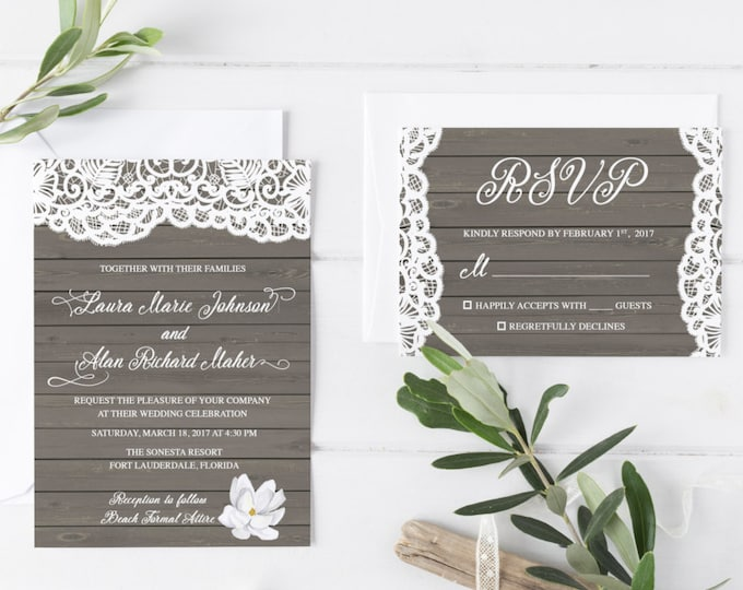Rustic Beach Wedding Invitation, Destination Wedding Printable Invitation Suite, Vintage Lace Wood Boho Wedding Invite, Printed Available