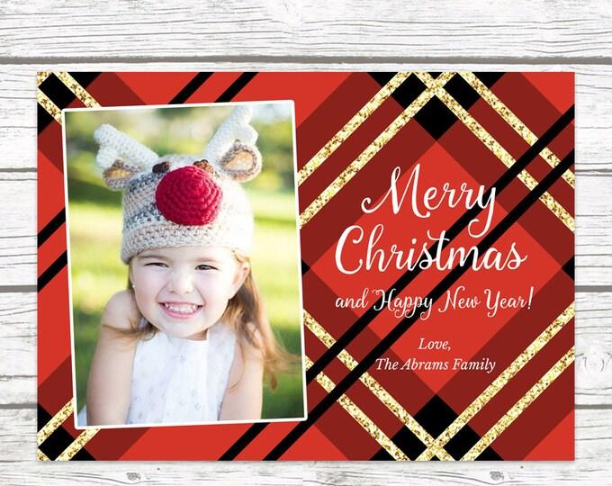 Red Plaid Christmas Photo Card, Plaid Holiday Card, Buffalo Plaid Card, Photo Christmas Card, Holiday Photo Card, Photo Christmas Card