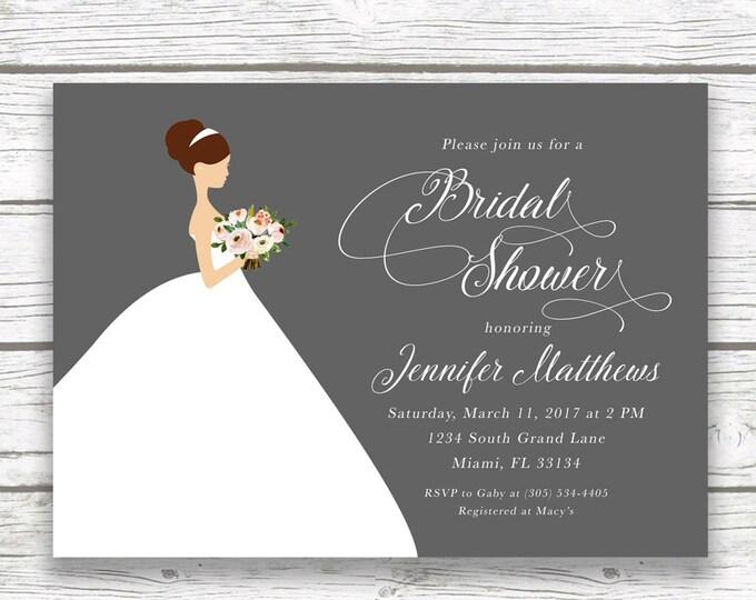 Bride Wedding Dress Bridal Shower Invitation, Gray Pink Floral Bridal Bouquet Invite, Classic Elegant Printed Printable Invitation