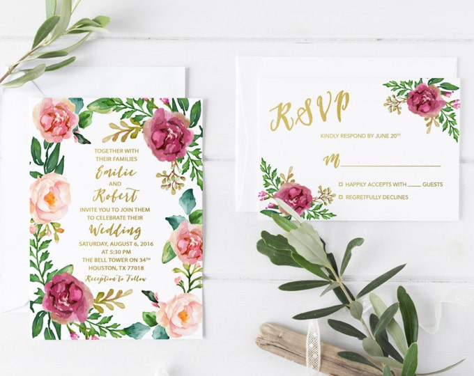 Boho Marsala Wedding Invitation, Burgundy Wedding Invitation, Floral Wreath RSVP & Invitation Suite, Bohemian Wedding Invitation Printable