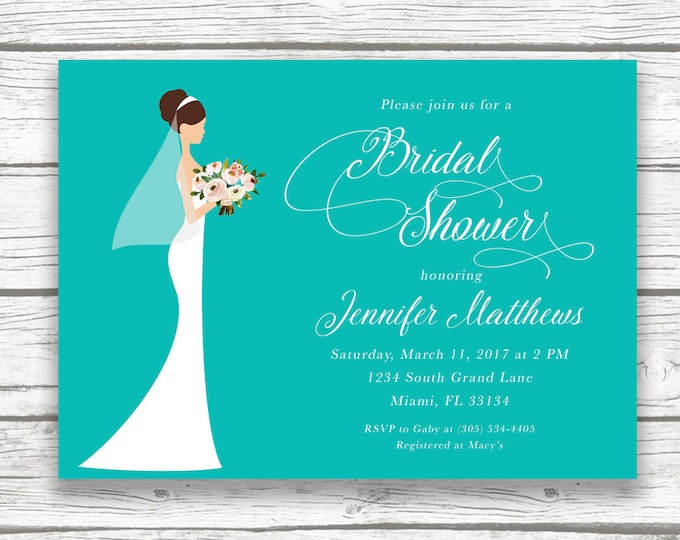 Bridal Shower Invitation, Turquoise Blue Bridal Shower Invitation, Bride Bridal Shower Invite, Wedding Dress Bridal Shower Invitation