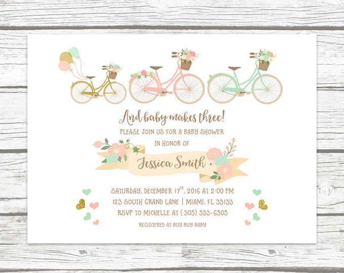 Bicycle Baby Shower Invitation, Baby Makes 3 Three Floral Invite, Adventure Boy Girl Gender Neutral Gold Pink Mint Printed or Printable