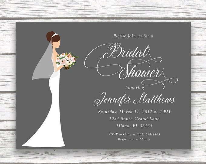 Bridal Shower Invitation, Bride Bridal Shower Invitation, Classic Bridal Shower, Wedding Dress Invitation, Printable Invite