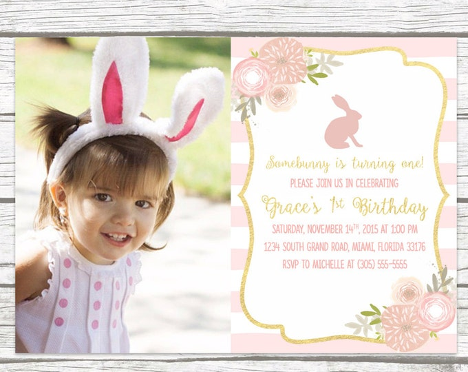 Bunny Birthday Invitation, Easter Birthday Invitation, Somebunny is Turning One Photo Invitation, Pink First 1st Birthday Girl Printable