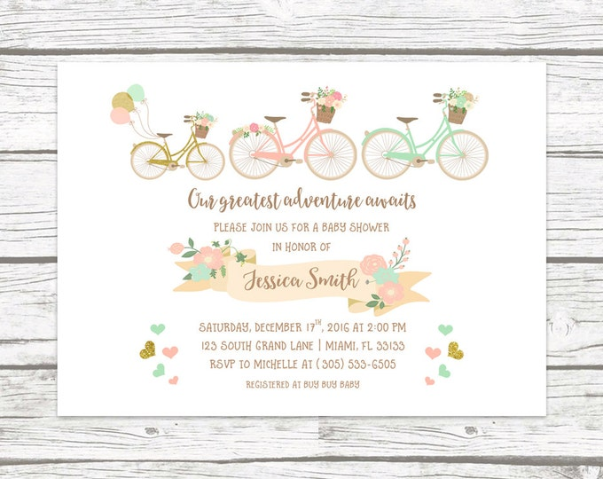 Bicycle Baby Shower Invitation, Our Greatest Adventure Awaits Floral Invite, Boy Girl Gender Neutral Gold Pink Mint Printed or Printable