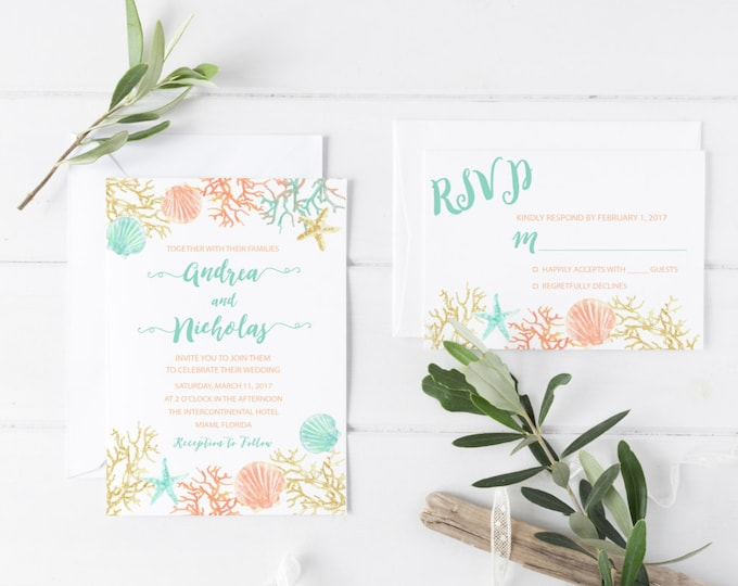 Beach Wedding Invitation, Destination Wedding Invitation, Tropical Wedding, Printable Wedding Invite, Turquoise Boho Beach Invite, Coral
