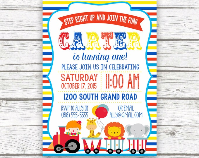 Circus Carnival Birthday Party Invitation, Boy Girl First 1st Birthday, Primary Color, Printed or Printable Invite, Striped Matching Back