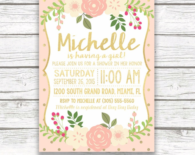 Peach and Gold Foil Floral Baby Shower Invitation, Pink Peony Invite, Rustic Baby Shower, Printed or Printable Invitation, Matching Back