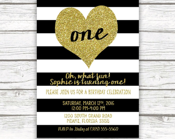Black and White Striped Gold Glitter Heart First Birthday Invitation, Stripes Girl One 1st Birthday, Printed Printable Invite with Back