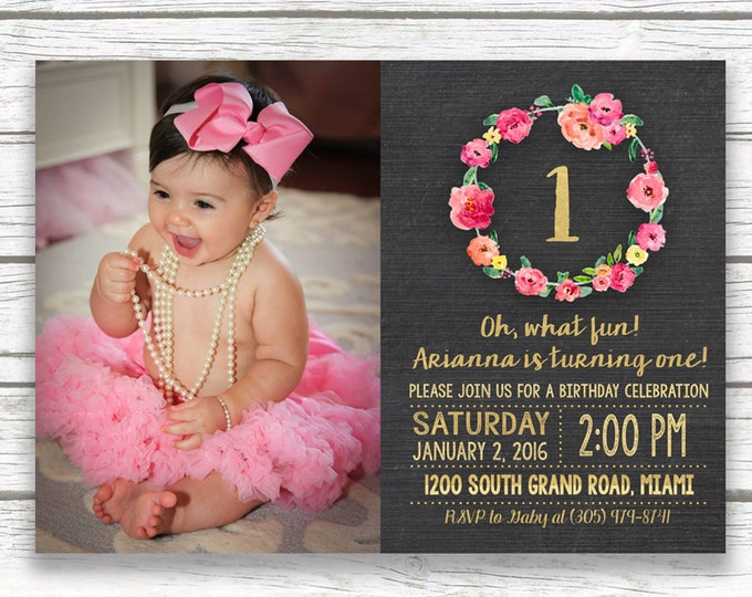 Chalkboard Gold Foil Pink First 1st Birthday Photo Invitation, Girl One Floral Wreath Invite, Printed Printable Invitation, Matching Back