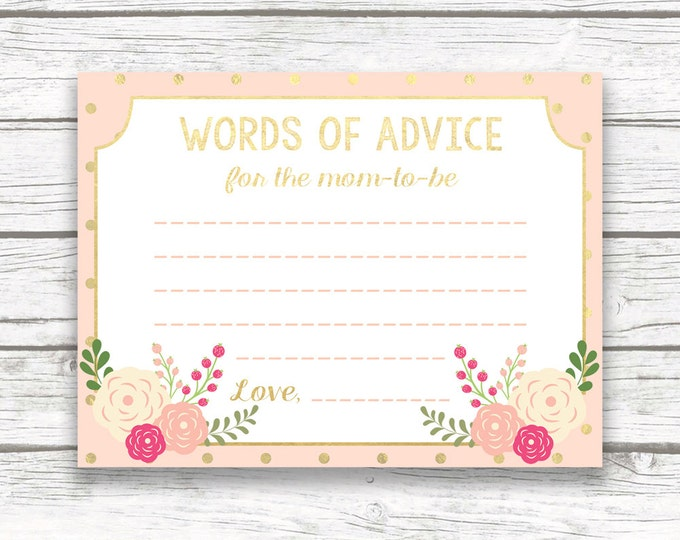 Peach and Gold Foil Words of Advice Wisdom for Mom Mom-to-Be Card, Floral Baby Shower, Printable Baby Shower Advice Card, Baby Shower Games