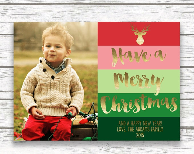 Colorful Photo Christmas Card, Ombre Christmas Photo Holiday Card, Colorblock Gold Foil Happy Holidays Card, Personalized Card