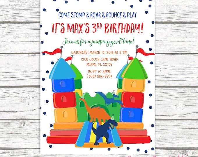 Dinosaur Bounce House Birthday Invitation, Dinosaur Invitation, Bounce House Invitation, Jump Party Invitation, Bounce House Invite