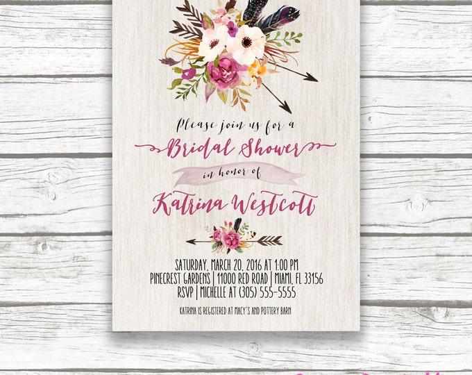 Boho Arrow Wood Bridal Shower Invitation, Tribal Watercolor Floral Invite, Burgundy Marsala Pink Southwestern Bohemian, Printed Printable