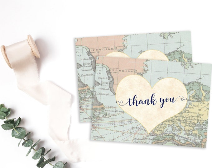 Map Thank You Cards, Travel Theme Thank You Note, Travel Bridal Baby Shower, World Baby Shower Thank You Note Folded or Flat