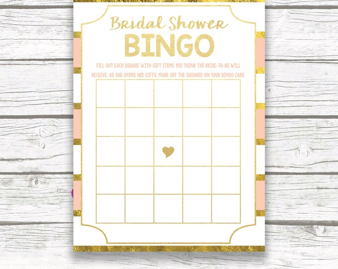 Peach and Gold Foil Bridal Shower Bingo Card, Floral Bridal Shower Bingo, Printable Bridal Shower Games Bingo Game Printable Card