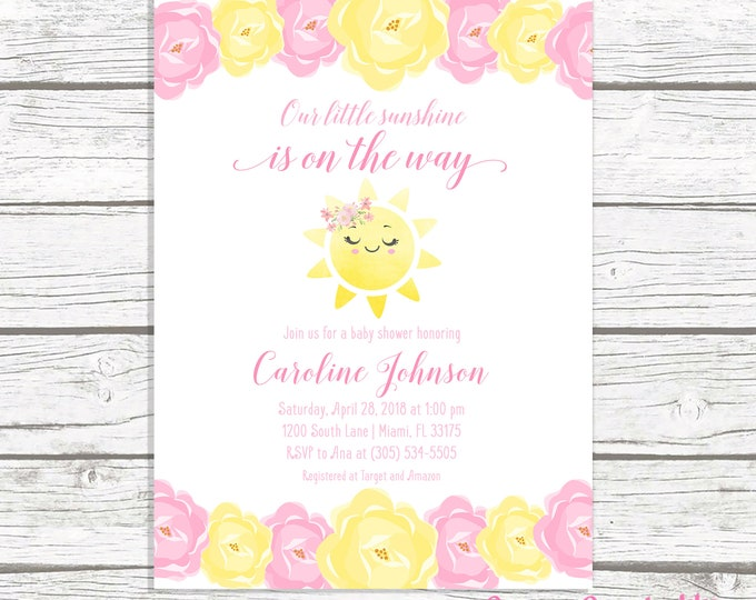 You Are My Sunshine Baby Shower Invitation Girl, Sunshine Baby Shower Invitation, Our Little Sunshine, Pink and Yellow Baby Shower