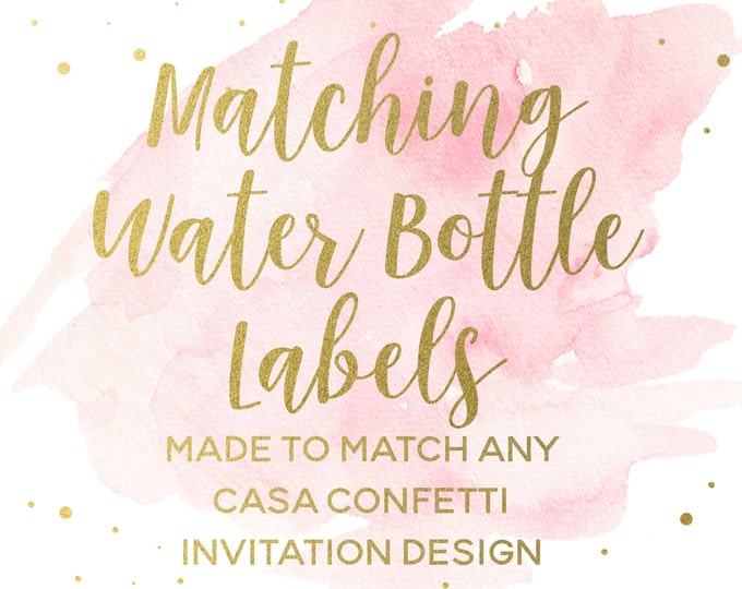 Printable Water Bottle Labels for any Design, Baby Shower Birthday Bridal Shower Bachelorette Baptism Water Bottle Labels to Match