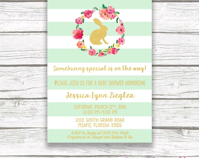 Bunny Mint Green Striped Gold Foil Baby Shower Invitation, Easter Somebunny Special is on the Way Girl Pink Pastel Floral Wreath Invite