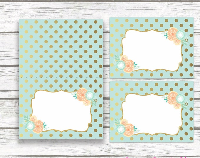 Mint and Peach Floral Food Tent Labels, Aqua Hot Air Balloon Printable Labels, French, Baby Shower Bridal Shower Birthday Party Decorations