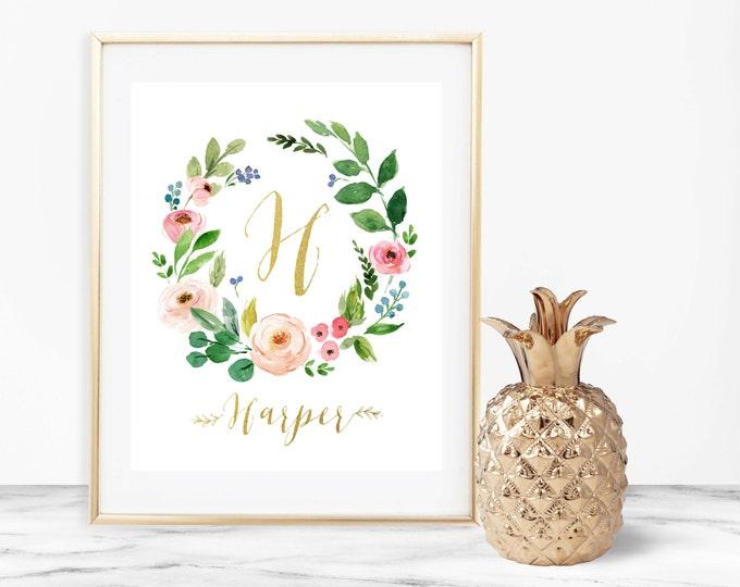 Monogram Nursery Print, Girl Nursery Decor, Printable Wall Art, Baby Name Art, Pink and Gold Monogram Art, Printable Nursery