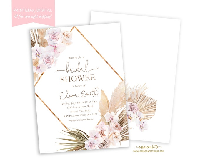 Pampas Grass Bridal Shower Invitation, Boho Invite, Bohemian Invite, Tropical Desert, Mauve, Dusty Rose, Printed Invitations, Digital