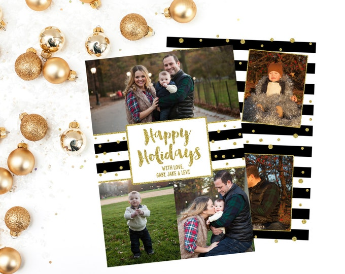 Black and White Christmas Photo Card, Holiday Photo Card, Black White and Gold Photo Card, Happy Holidays Photo Card, Printable Holiday Card