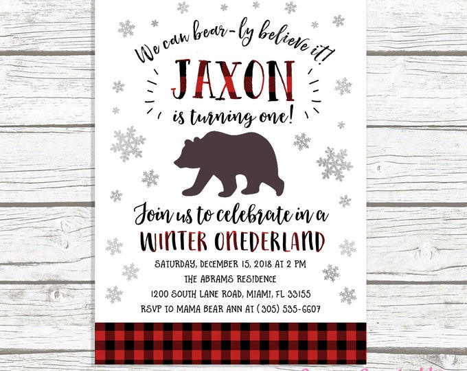 Lumberjack First Birthday Invitation Boy, Flannel Bear Birthday Invitation, First 1st Birthday Boy, Camping Birthday Invitation Winter