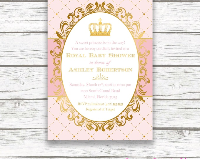 Princess Baby Shower Invitation, Royal Baby Shower Invitation, Crown Invitation, Princess Invitation, Pink and Gold Princess Baby Shower
