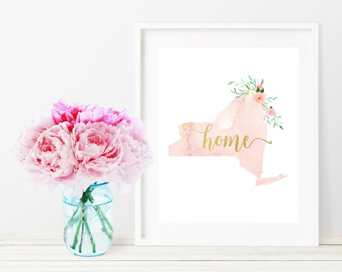 New York State Silhouette Art Print, Pink Watercolor Map Printable Home Nursery Decor, Home Floral Wall Art, Gold 8x10 Art Print, Dorm Decor