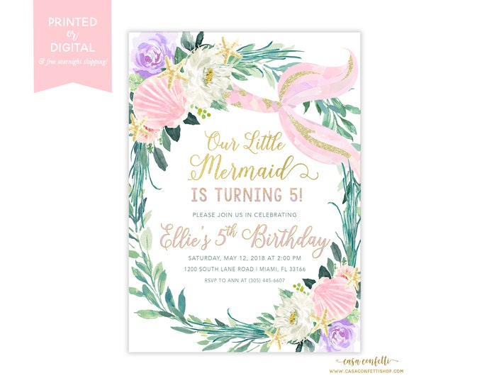 Pastel Mermaid Birthday Party Invitation, Pink and Gold Under the Sea Birthday Invitation, Floral Mermaid Invitation, Girl Birthday Invite