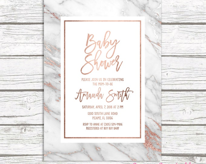 Rose Gold Marble Baby Shower Invitation, Rose Gold Baby Shower Invitation, Geode Baby Shower Invite, Gender Neutral Baby Shower, Modern