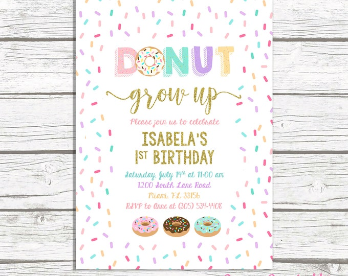 Donut Birthday Invitation, Donut Invitation, Doughnut Birthday Party Invite, Donut Grow Up Birthday Invite Girl, Sprinkle First 1st Birthday