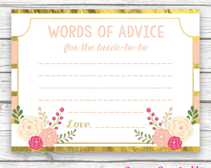 Peach and Gold Foil Words of Advice for Bride-to-Be Card, Floral Bridal Shower, Printable Bridal Shower Advice Card, Bridal Shower Games