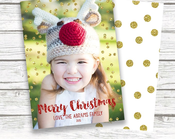 Christmas Photo Card, Confetti Christmas Photo Card, Holiday Photo Card, White and Gold Christmas Card, Glitter Christmas Card