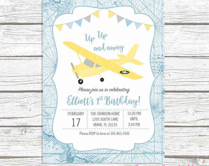 Airplane Birthday Invitation, Up Up and Away Birthday Invitation, Time Flies Airplane Invitation, First 1st Birthday Boy Blue Gray Yellow