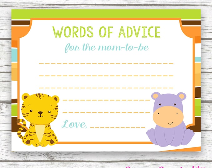 Safari Jungle Baby Shower Advice for Mom to Be Wishes for Baby Card, Striped Printable Card, Baby Shower Wishes for Baby, Baby Boy Shower