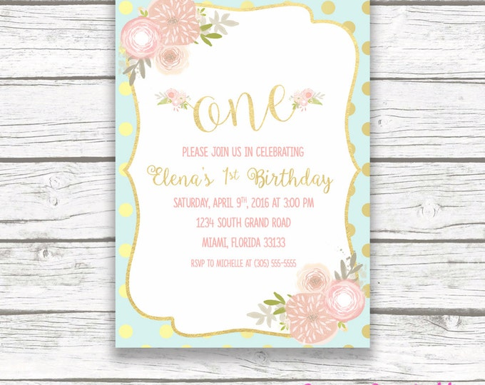 First Birthday Invitation Girl, Pink Mint Gold Birthday Invitation, One Birthday Invitation, Floral Invitation, 1st Birthday Printable