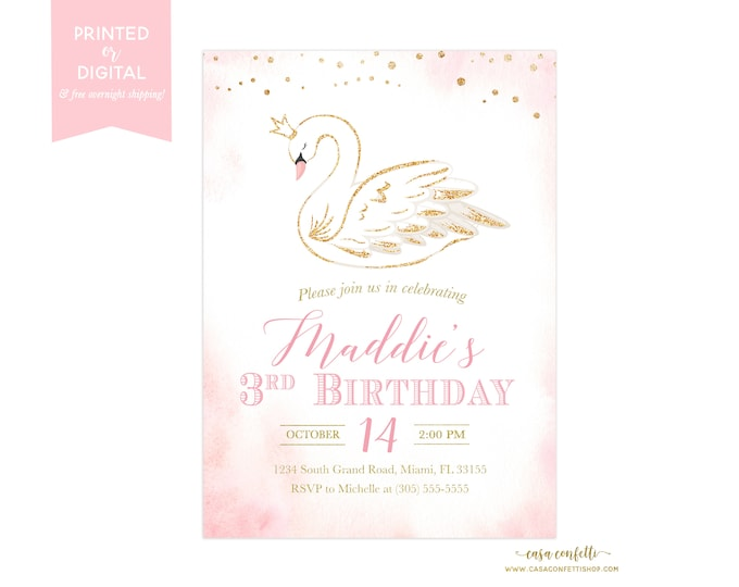 Swan Birthday Invitation, Pink and Gold Swan Invitation, Swan Princess Birthday Invitation, Pink and Gold Birthday Girl, First 1st Birthday