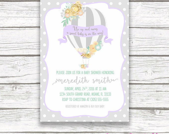 Hot Air Balloon Baby Shower Invitation, Gray Lavender and Teal Girl Invite, Purple Lilac Floral French Chic, Printable Invitation