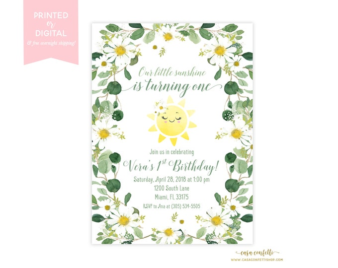 Daisy Birthday Invitation, You Are My Sunshine Birthday Invitation Girl, Sunshine Birthday Invitation, Our Little Sunshine, First Birthday