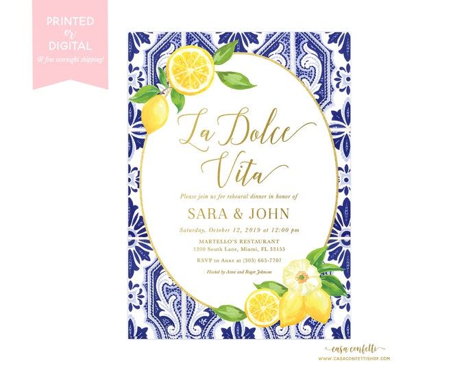 Lemon Rehearsal Dinner Wedding Invitation, La Dolce Vita Blue Tile Italian Rehearsal Dinner Invitation, Tuscan Rehearsal Dinner Invitation
