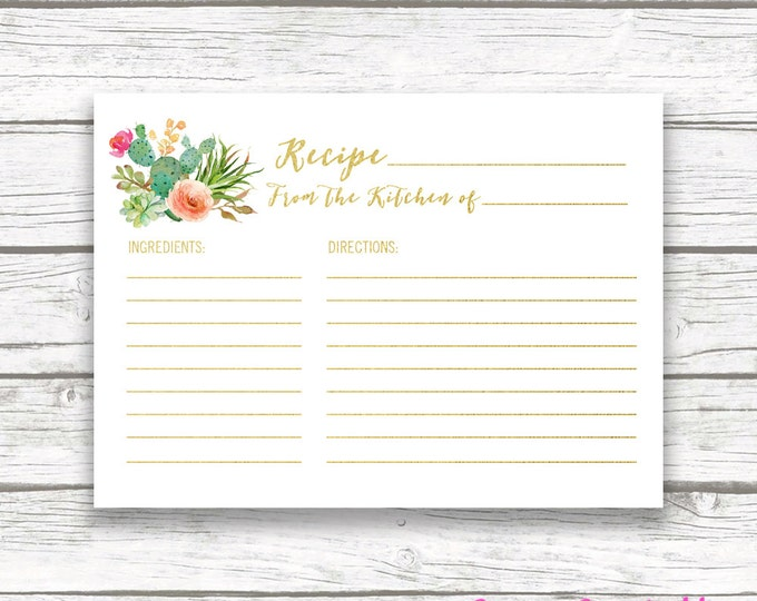 Cactus Recipe Card, Fiesta Bridal Shower Recipe Card, Shower Invitation Insert, Succulent Watercolor Recipe Cards, Instant Download