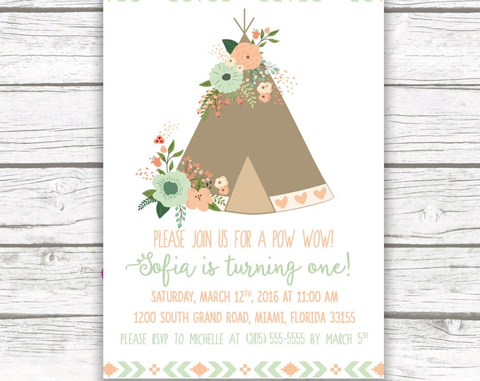 Teepee Boho Birthday Invitation, Pow Wow Floral Mint and Peach, Girl First 1st Birthday, Tribal Arrow Back, Printed or Printable Invite