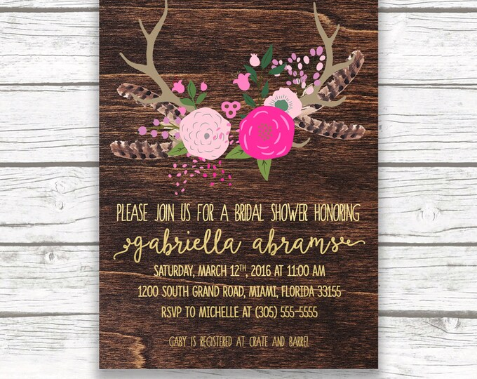 Boho Bridal Shower Invitation, Pink and Gold Foil Floral Antler Feather Southwestern Boho Invite, Printed or Printable, Matching Back