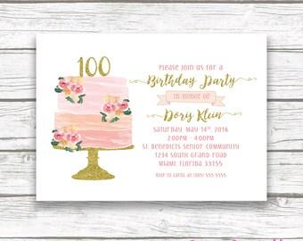 100th Birthday Invitation Cake Watercolor Topper Floral Invite Printable