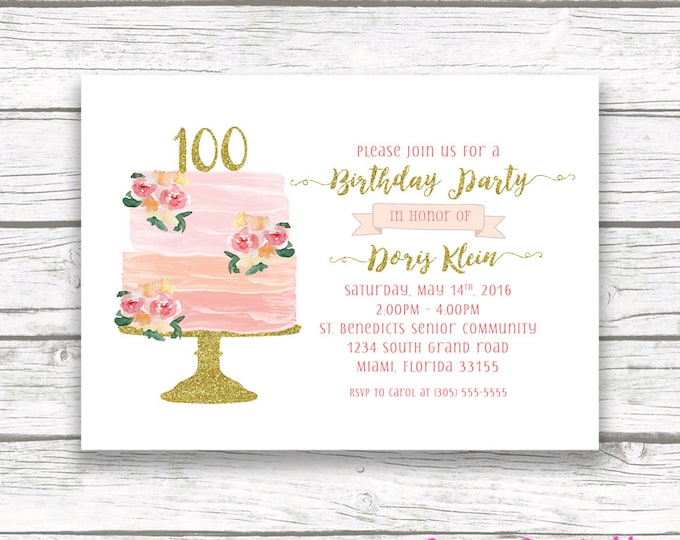 100th Birthday Invitation, Cake Birthday Invitation, Watercolor Birthday Invitation, Cake Topper Invitation, Floral Cake Invite Printable
