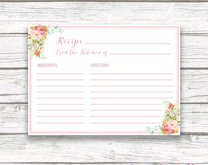 Pink Floral Kitchen Shower Recipe Cards, Stand Mixer Bridal Shower Invitation Recipe Card Insert, Wedding Bride, Pink Peach Instant Download