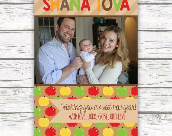 Shana Tova Rosh Hashanah Holiday Photo Greeting Card, Customizable Printable Photo Card, Apple Honey Fall Photo Card, Jewish New Year Card